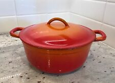 Vintage Cast Iron Descoware Belgium Flame Orange Dutch Oven Pot Enamelware
