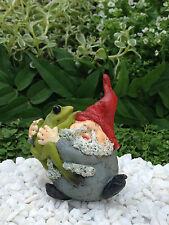 Miniature Dollhouse FAIRY GARDEN ~ Roly Poly Gnome Hugging Frog  ~ NEW