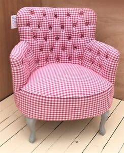 SALE-PRICE-NEW-Voyage-Maison-Dora-Betsy-Raspberry-Checked-Buttoned-Armchair