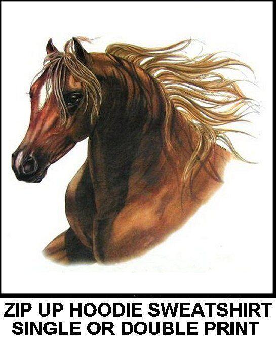 BEAUTIFUL EQUESTRIAN ARABIAN ARAB ART SHOW STYLE HORSE ZIP HOODIE SWEATSHIRT 319