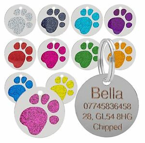 Dog-Cat-Pet-Tag-Personalised-Engraved-Collar-ID-Tags-25mm-Glitter-Paw-Print