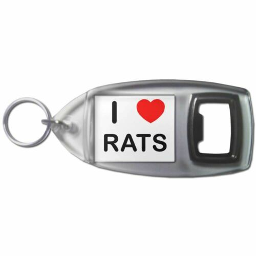 Plastic Bottle Opener Key Ring New I Love Heart Rats