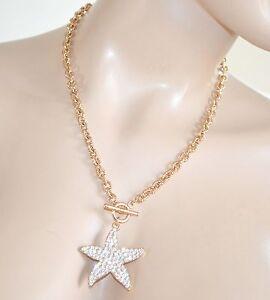 COLLANA-donna-oro-elegante-ciondolo-stella-strass-catena-girocollo-anelli-Z6