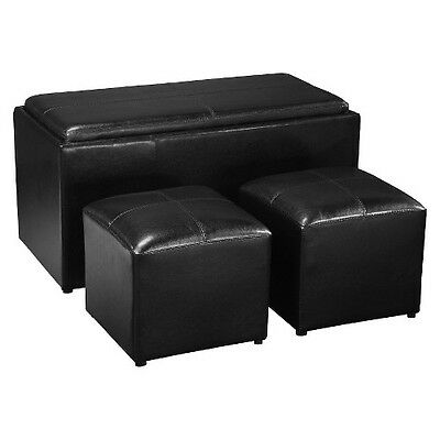 Convenience Concepts Sheridan 4-Piece Double Storage Ottoman with Tray in Black
