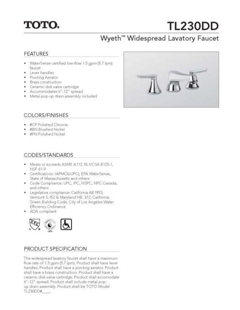 TOTO TL230DD12#BN Faucet Wyeth Widespread Lav,