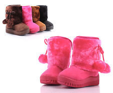 Fuchsia New Faux Suede Faux Fur Cute Toddlers Kids Girls Winter Boots Size 2