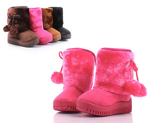 Fuchsia Cute Faux Suede Faux Fur Booties Toddlers Kids Girls Winter Boots Shoes