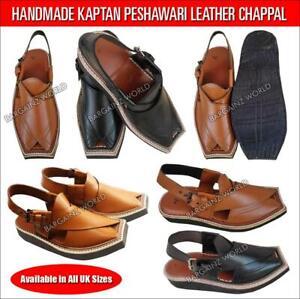 Men/'s New Peshawari Pattern Leather Sandal//Flip Flops in Black//Brown