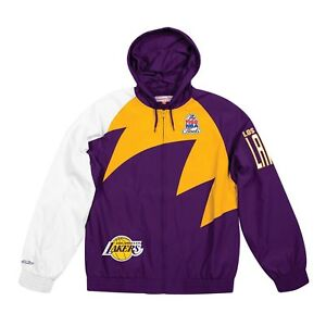 Authentic-NBA-Los-Angeles-Lakers-Mitchell-amp-Ness-Shark-Tooth-Full-Zip-Jacket