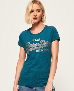 New Womens Superdry Vintage Logo Rugged Atlantic Deep Teal R