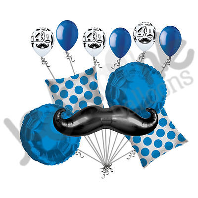 ~MANY COLORS~ 11 pc Mustache & Dots Balloon Bouquet Happy Birthday Wedding Baby