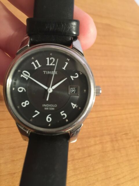 d7c9c63ca7aa Timex Men s Easy Reader With Date Black Leather Strap Watch Pre Owned