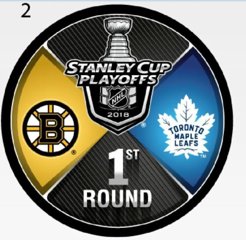 BOSTON BRUINS TORONTO MAPLE LEAFS 2018 PLAYOFF PUCK 1ST