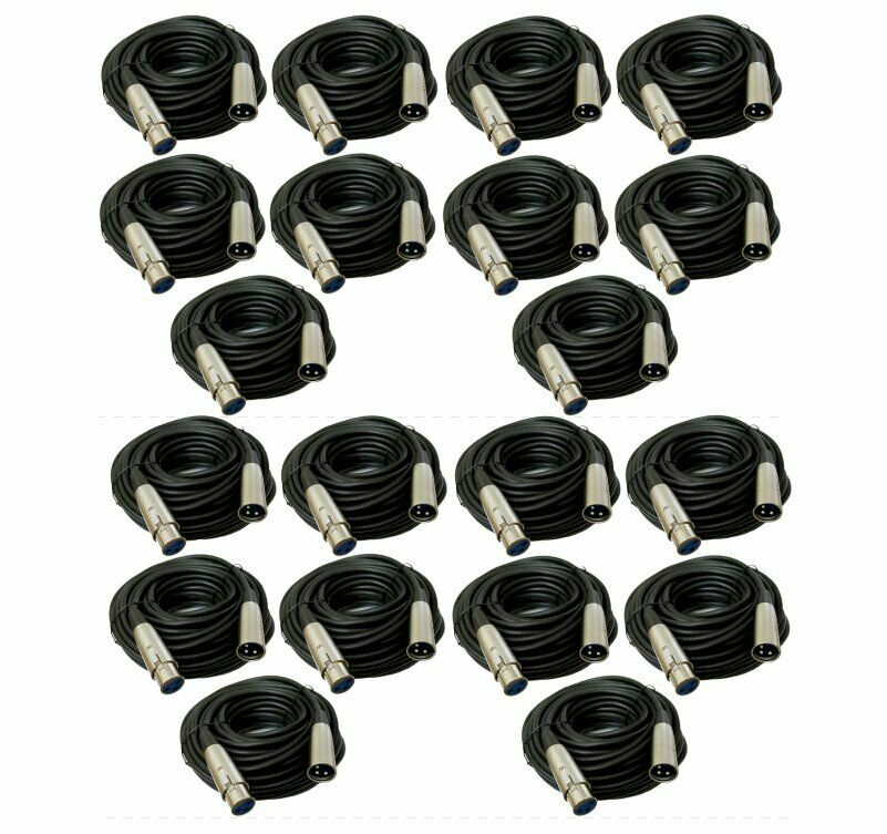 20 x 50Ft XLR 3Pin Male Female Audio Mixer Microphone Shield Cord Balanced Cable