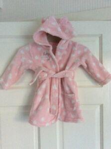 Baby Girl's George Rose & Blanc Pois Doux Au Toucher à Capuche Robe De Chambre Âge 6 - 9 Mois-afficher Le Titre D'origine 6ezy0sf6-10110222-883025343