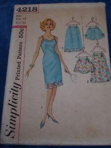 1c4584b42188d Details about 1962 SIMPLICITY #4218 - LADIES PETTI-PANTS - HALF SLIP & FULL  SLIP PATTERN 12 FF