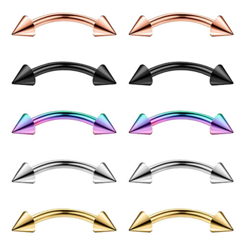 10pcs  Earring Lip Eyebrow Ring 16g Curved Barbell 316L Stainless Steel