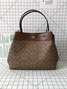 e31260107be Image is loading Coach-F27972-Lexy-Signature-Coated-Canvas-Leather-Shoulder-