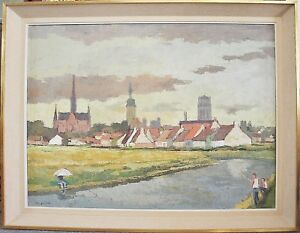 Olgemaelde-hollaendische-Stadtansicht-Noordwijk-Richard-Sprick-1901-1968