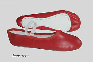RED-LEATHER-BALLET-SHOES-with-PRE-SEWN-WHITE-ELASTIC-Size-Ch-8-Adult-9
