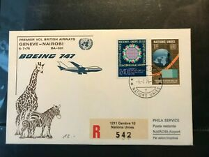 UN Geneva Switzerland 1976 R-AIR LETTER BRITISH AIRWAYS Geneva Nairobi Arrival Stamp