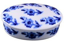 Chamart Limoges France Blue Oval Floral Jewelry / Trinket Box