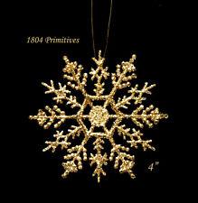 "10 ~ Sparkling GOLD Glitter 4"" Snowflake Ornaments ~ Christmas"