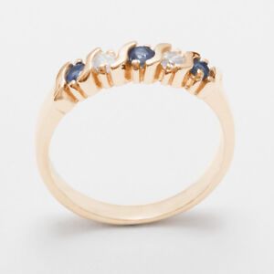 Solid-9ct-Rose-Gold-Natural-Sapphire-amp-Cubic-Zirconia-Womens-Eternity-Ring
