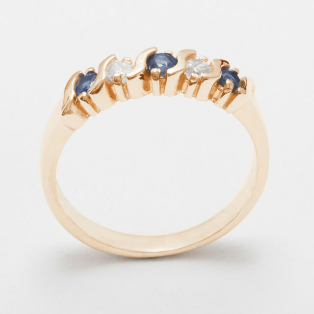 Solid 9ct Rose Gold Natural Sapphire & Cubic Zirconia Womens Eternity Ring