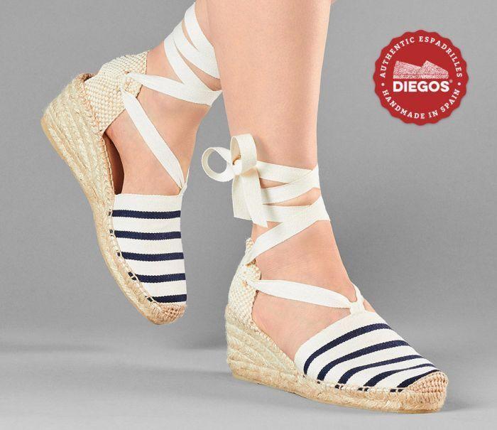Diegos® Authentic Handmade Spanish Espadrilles | Sailor stripes high wedge schuhe