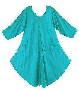 20699a8d278 Turquoise Women Lagenlook Long Sleeve Plus Size Vest Tunic Top 0X 1X ...
