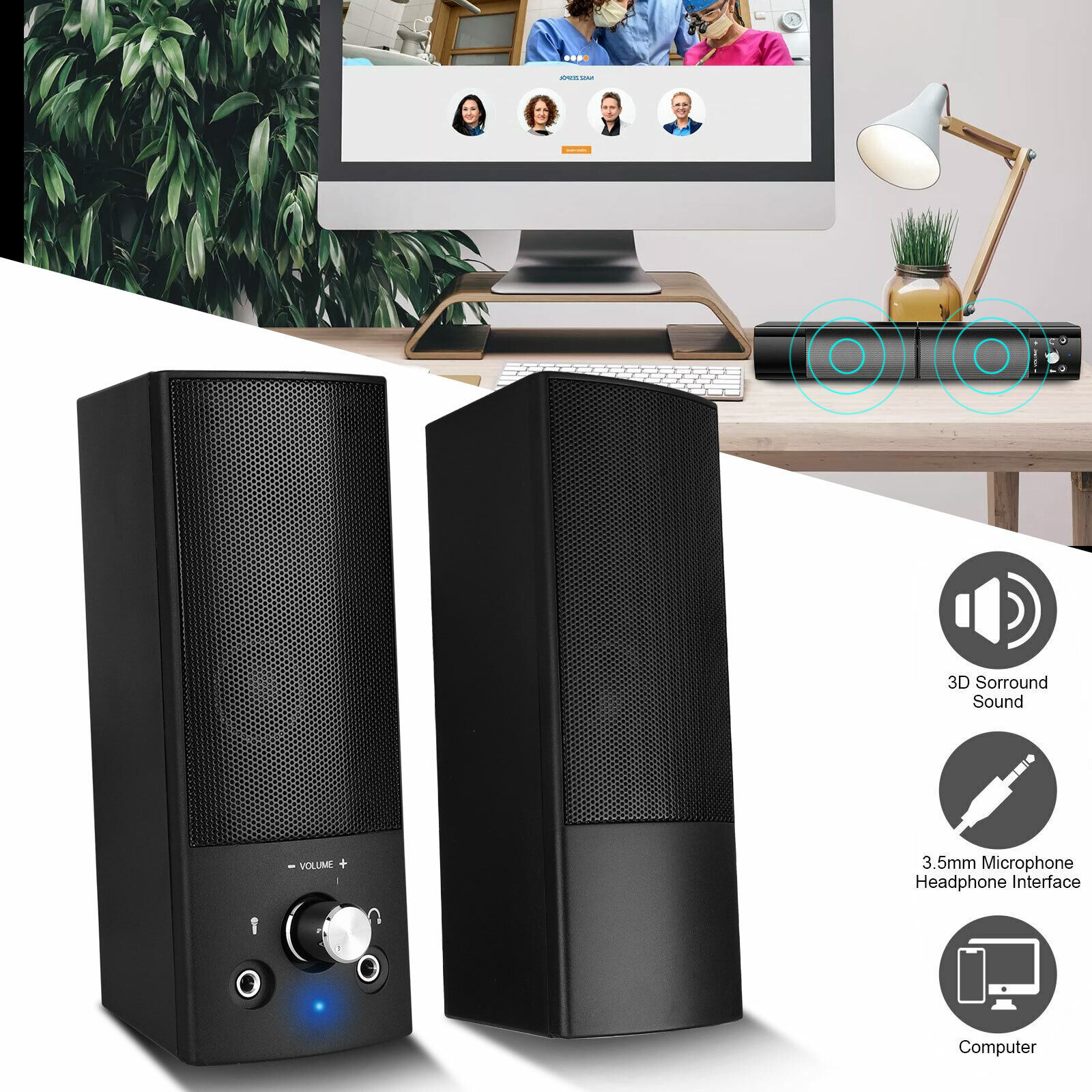 Stereo Bass Surround Sound USB Computer Speakers 2.0 Channel for Laptop Desktop. Buy it now for 29.48