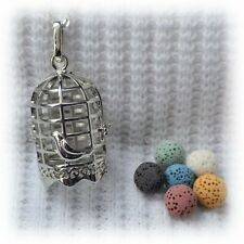 Bird Cage Essential Oil Aromatherapy Diffuser Necklace with 6 lava stones!