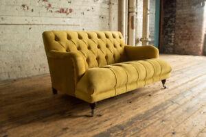 Handmade Retro Style 2 Seater Mustard Yellow Velvet Low Chesterfield Sofa Ebay