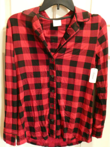 SOMA COOL NIGHTS NOTCH COLLAR PAJAMA TOP IN MANOR PLAID RAPHAEL RED SMALL NEW