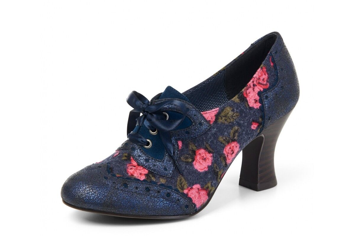 Damenschuhe Ruby Shoo Daisy Blau Mid Heel Lace Up Schuhes
