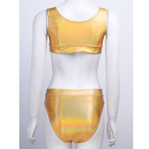Les femmes en cuir sans manches Crop Top Bikini Set Swimwear Swimsuit Bathing Beachwear