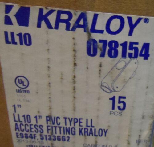 "1/"" Kraloy LL10 Access Conduit Body PVC 90 Deg LB Style Fitting Non-Metallic 5"