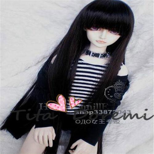 Bjd Doll Wig 1//3 8-9 Dal Pullip AOD DZ AE SD DOD LUTS// Dollfie black Toy Hair