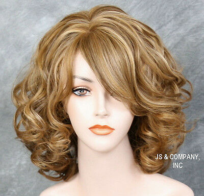 Cute as it can be! Curly Lots volume Blonde mix HEAT SAFE WIG Bangs HHP 2216