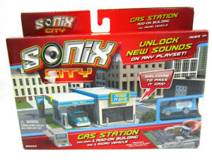 Sonix City Gas Station  1 add on building and 1 micro vehicle   ***New in Box***
