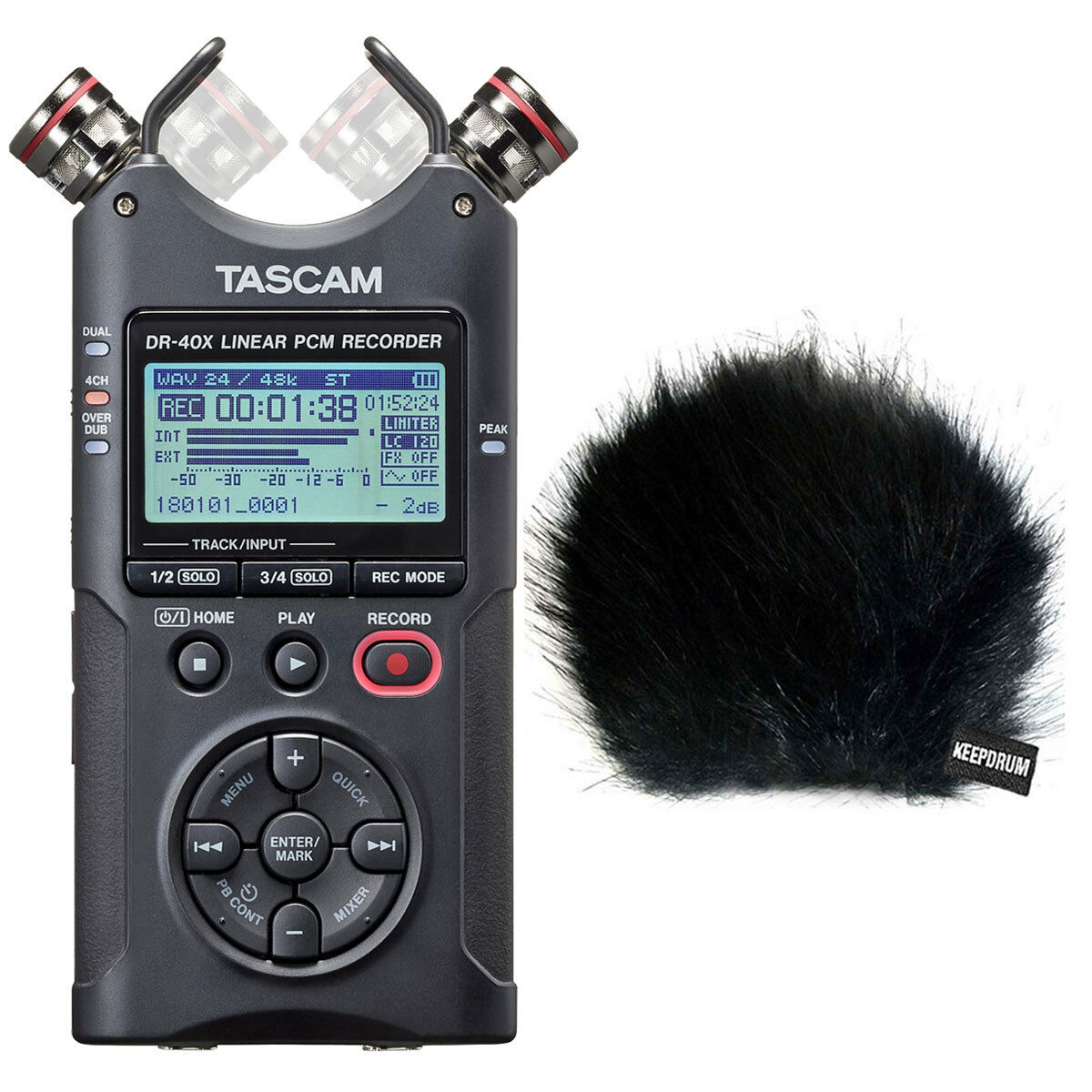 Tascam DR-40X Stereo Recorder Dictaphone + Keepdrum fur Wind Predector