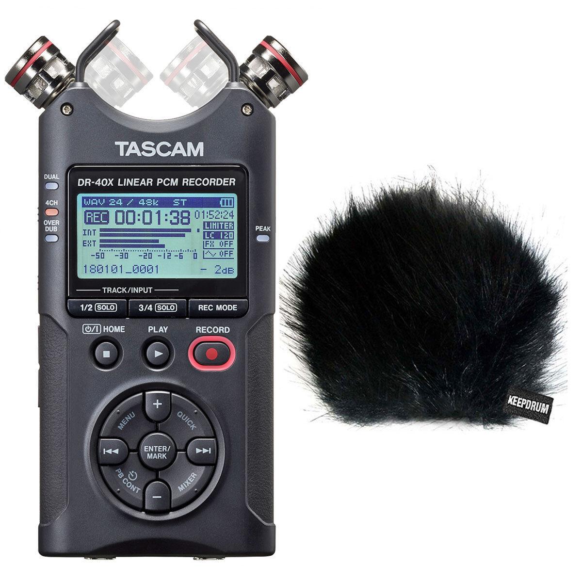 Tascam dr-40x stereo audio-recorder + TAMBURI pelliccia-ANTIVENTO
