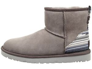 def997883d6 Details about New UGG AUSTRALIA CLASSIC MINI SERAPE BOOTS SEAL GREY SIZE 7  Authentic