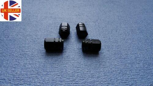 SKODA BLACK metal DUST VALVE stem CAPS tyre WHEEL ALUMINIUM SOLID hexagon COVER