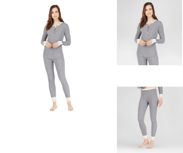 eedced90d5e9 Warm Essentials Cuddl Duds Small Waffle Thermal Leggings & LS Henley Shirt  Gray