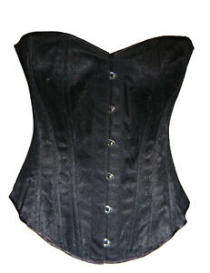 BLACK-BASQUE-CORSET-STEEL-BONED-LACE-SIZE-6-18-TUTU-GOTHIC-ALTERNATIVE