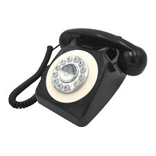 Retro Vintage Black Classic Telephone Desk Phone Handset Rotary Dial Land-Line