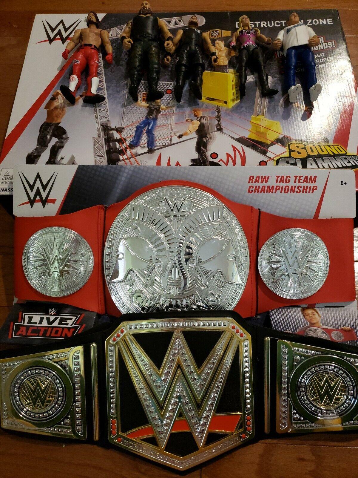 WWE suono Slammers Destruction Destruction Destruction Zone set 2 belts 5 cifras excellent condition a281b6