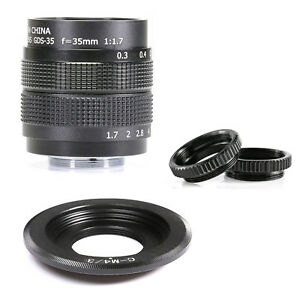 Fujian-35mm-f-1-7-CCTV-cine-lens-for-M4-3-MFT-Mount-Camera-amp-Adapter-bundle-ne